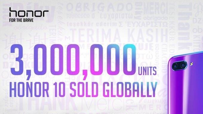 Honor 10 sales surpass 3 million units, brand reveals growth of 150%