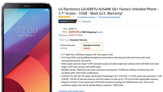Save $300 on the unlocked U.S. version of the LG G6+, priced at $500 at Amazon, B&H