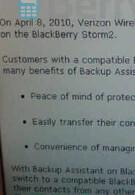 Verizon's BlackBerry Storm2 to get Backup Assistant today?