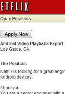 Netflix looking for Android Engineer to expand suppport to Android devices