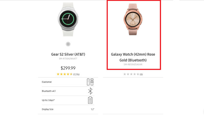 Rose Gold Samsung Galaxy Watch with 42mm case appears on Samsung's website