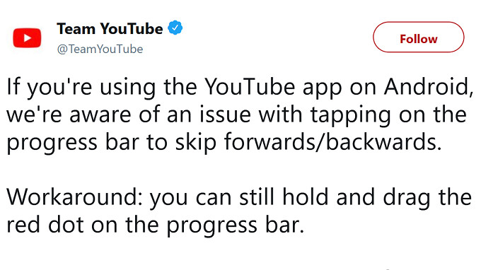 YouTube for Android update added bug that partially disabled the app's progress bar (UPDATE)
