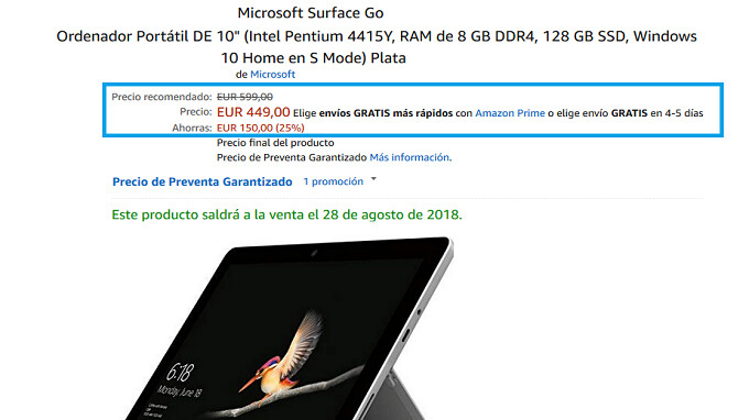 Amazon is now accepting pre-orders for the Microsoft Surface Go