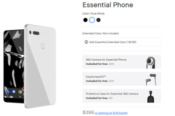Essential Phone is $399 from the manufacturer with free camera, earphones and case valued at $107