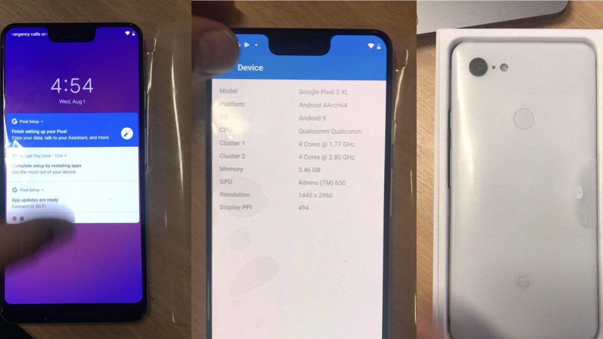 "Google Pixel 3 XL goes ""full monty"" in live pictures and unboxing video"
