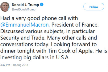 President Donald Trump is having dinner tonight with Apple CEO Tim Cook; trade wars are on the menu