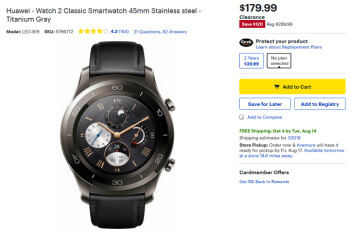 Best Buy, Amazon have the Huawei Watch 2 Classic on sale for $179.99