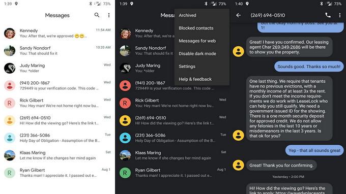 Android-Nachrichten werden dunkel Modus und mehr mit dem neuesten Update auf v3.5