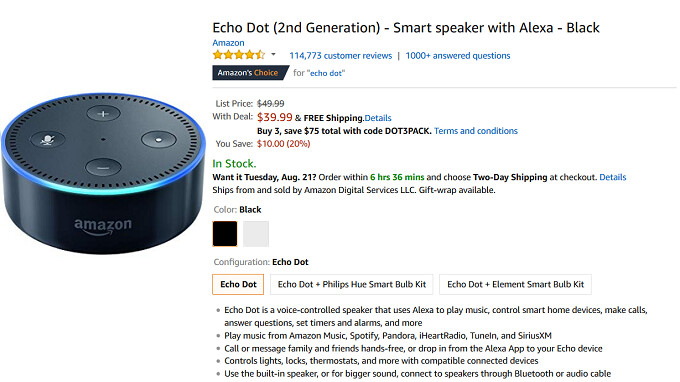 Use this coupon code to score three Amazon Echo Dot smart