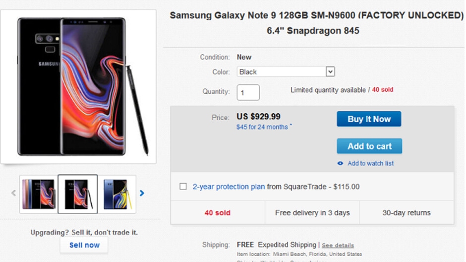 Pick up the Samsung Galaxy Note 9 for $930, Wireless Charger Duo for $100 from eBay