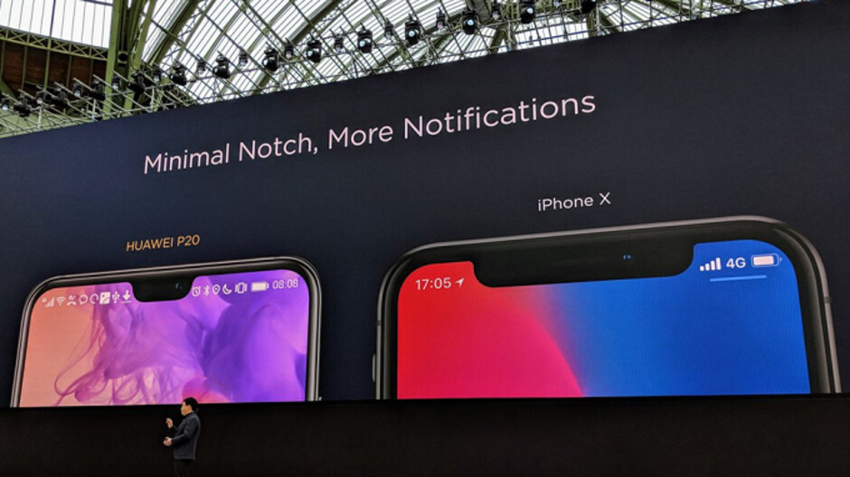 Huawei compares the notch on the P20 to the one on the Apple iPhone X and says smaller is better