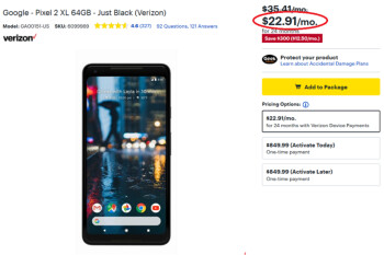 Save 35% on the Pixel 2 XL from Best Buy when financed through Verizon's Device Payment plan