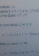Sprint to get Android 2.1 updates next month for HTC Hero and Samsung Moment