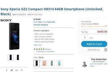 Deal: Unlocked Sony Xperia XZ2 Compact is $150 cheaper at Amazon