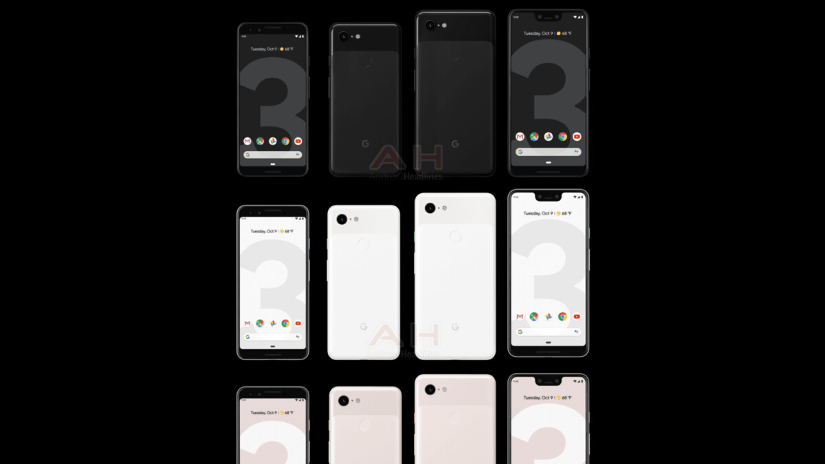 Google Pixel 3 & Pixel 3 XL show up again; this time in all three official colors