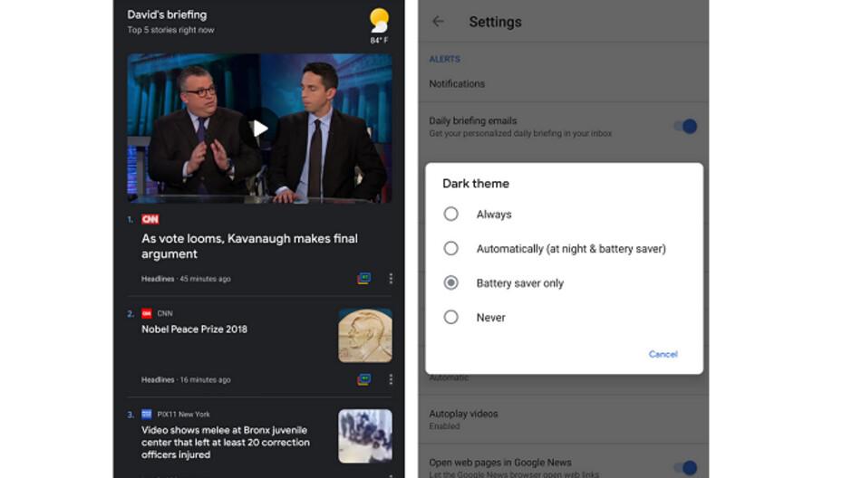 google news app starts receiving dark theme