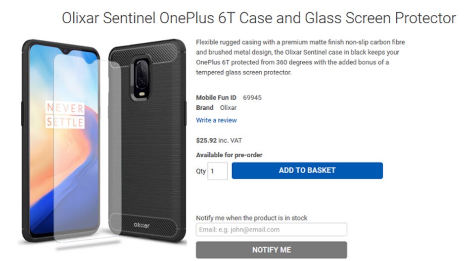 OnePlus 6T renders show phone nestled inside various cases