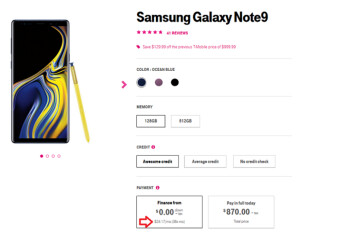 After cutting the price by $130, T-Mobile is testing 36 month financing on the Samsung Galaxy Note 9