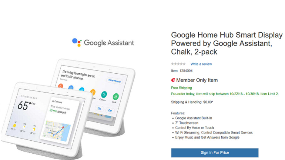 Save $48 with the purchase of a Google Home Hub two pack from Costco for $250