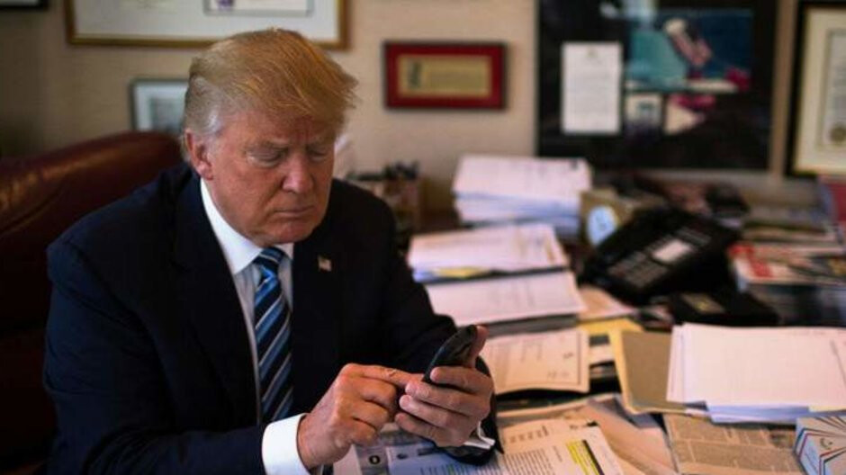 President Trump rebuts the use of unsecured personal iPhone... from an iPhone