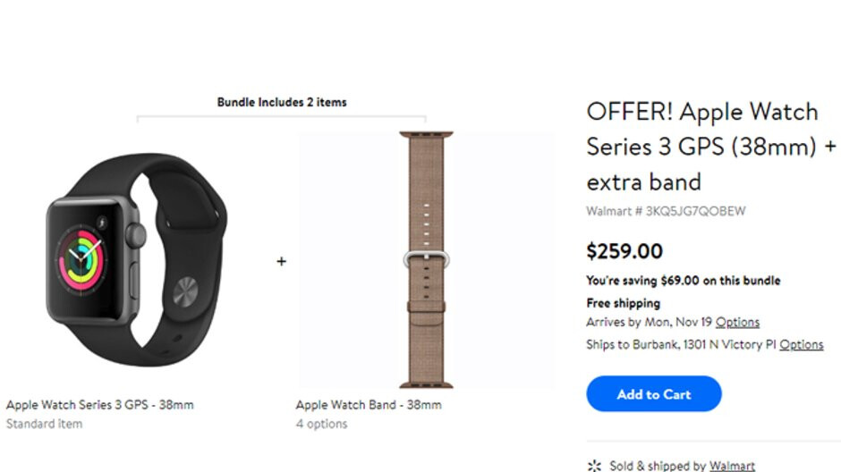 Deal: Save $70 on Apple Watch Series 3 + extra band bundle at Walmart