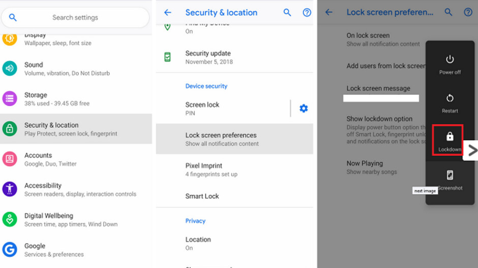 Lockdown mode for Android Pie protects a user's data when he doesn't have his phone