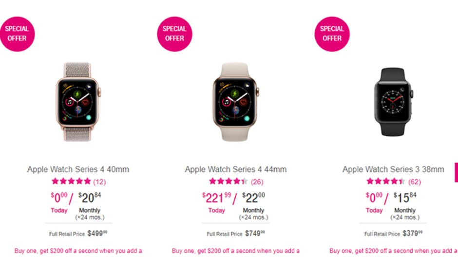 Deal: Buy an Apple Watch Series 3 or 4 and get $200 off a second at T-Mobile