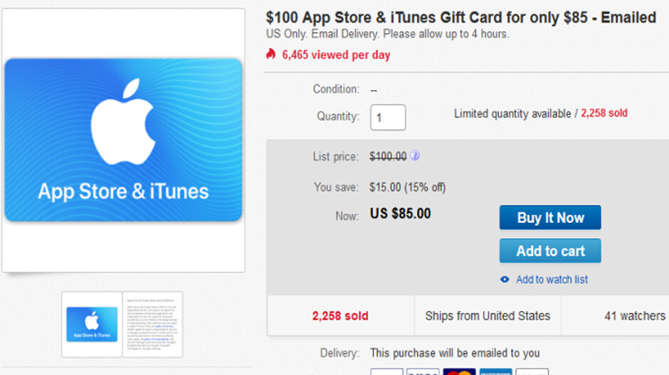 Buy a $100 Apple App Store and iTunes gift card for $85 and
