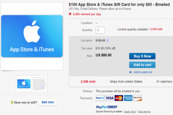 Buy a $100 Apple App Store and iTunes gift card for $85 and save 15%