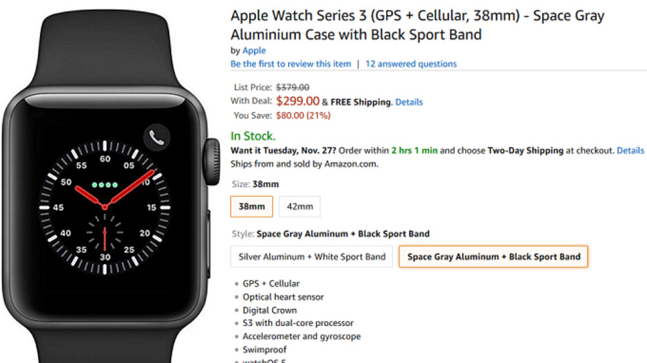 new concept 01ec8 88657 Apple Watch Series 3 (GPS + Cellular) is $80 off at Amazon - PhoneArena