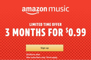 Amazon offers 3 months of Music Unlimited service for just $0.99, new subscribers only