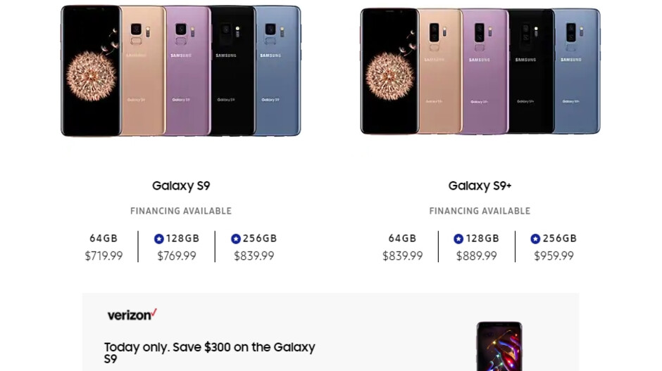 Sweet Verizon deal has the Galaxy S9 at $300 off, no bill credits, today only!