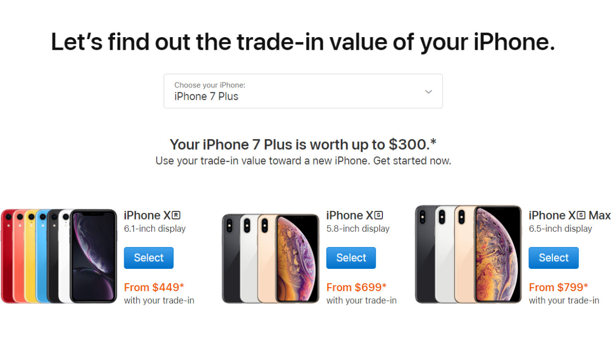 iPhone XS/XR buyers can now compare trade-in promo prices on Apple's website