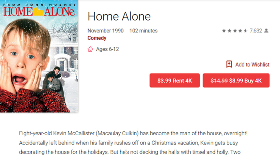 Google Play Movies & TV has holiday films, including the classic Die Hard, on sale for $4.99 and up