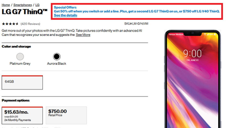 Verizon deal takes 50% off the LG G7 ThinQ and adds a second one for free