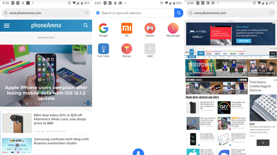 Xiaomi's Mint Browser requires less storage than most Android browsers, but is just as fast
