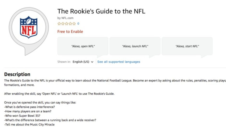 The Rookie's Guide to the NFL is a handy new Alexa skill