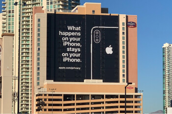 Apple uses famous Las Vegas slogan to promote iPhone security on billboard near CES