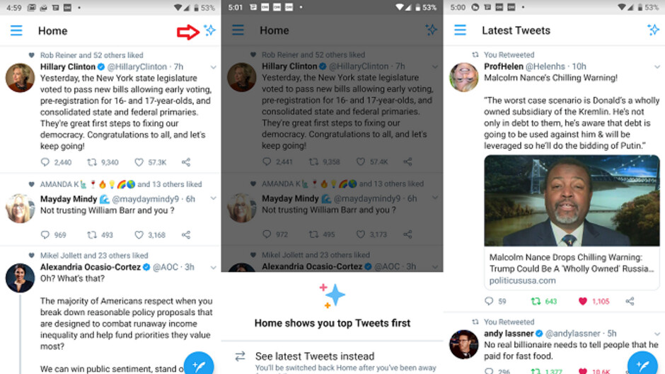 Twitter for Android now allows users to see tweets in reverse chronological order