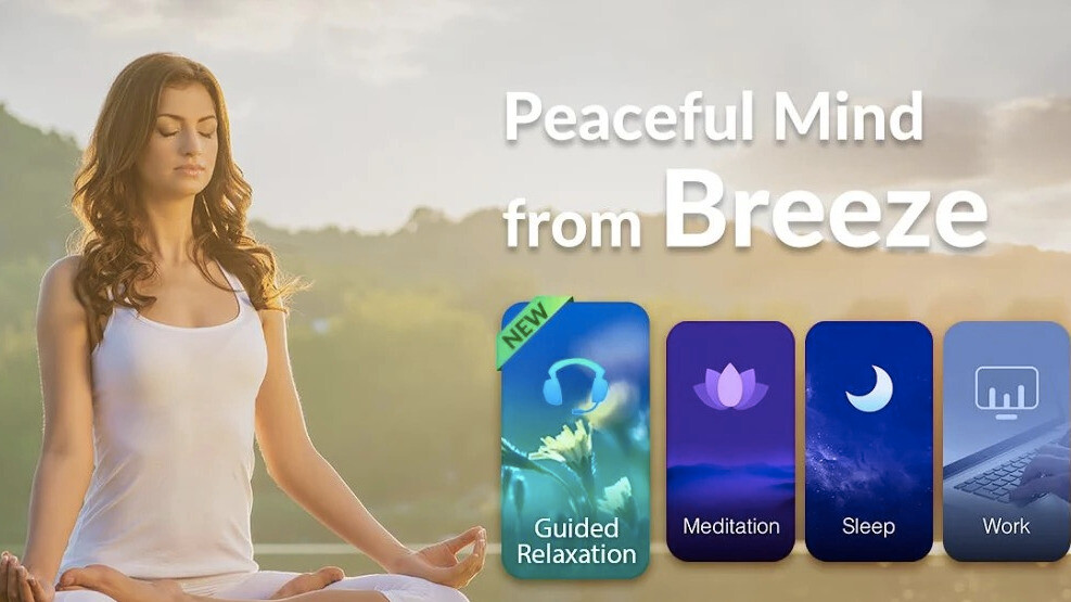 Relax with CooTek's Breeze app amidst soothing sounds,  bedtime stories, and guided meditation