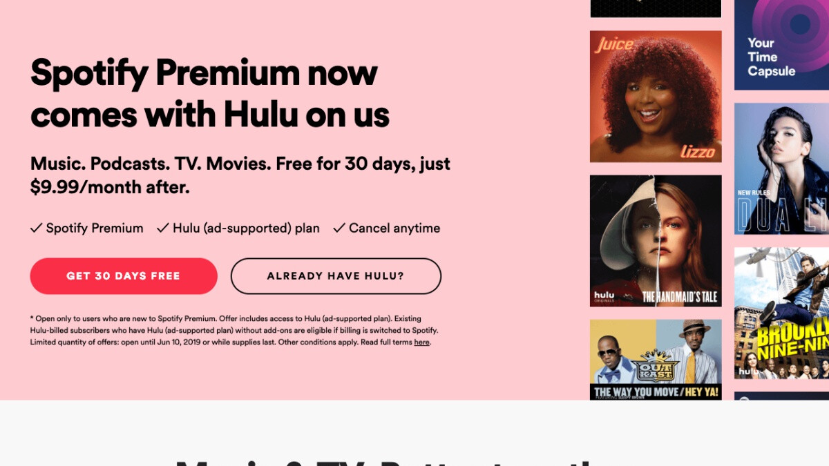 Spotify Premium Subscriptions Now Include Free Hulu""