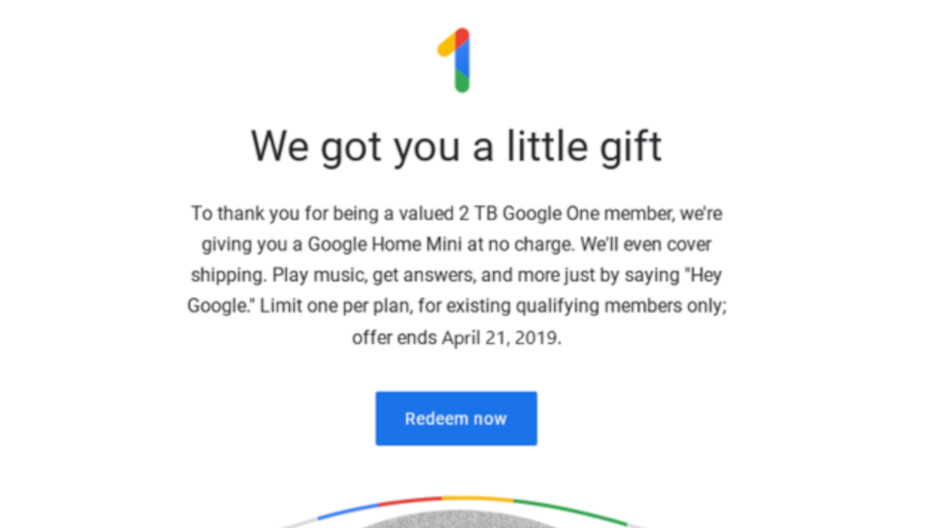 Purchase cloud storage from Google One and get a free smart speaker