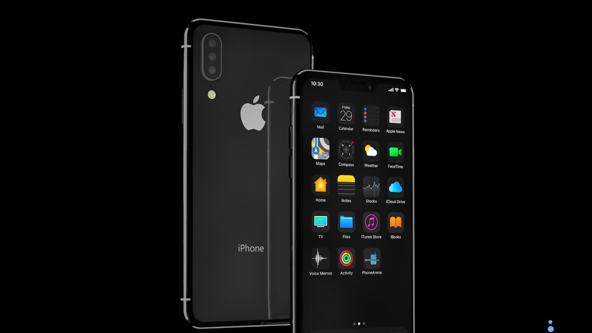 iPhone 11 running iOS 13 with Dark Mode envisioned in 3D renders