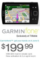 T-Mobile officially announces that the Garminfone will be launching on June 9 for $199.99