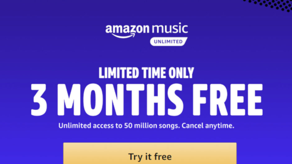 Deal: Get 3 months of Amazon Music Unlimited service for free until May 14