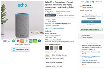 Second-gen Amazon Echo hits new all-time low price in Prime deal of the day