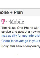Nexus One for T-Mobile is not available through Google's phone site?