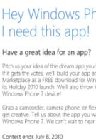 Submit an app suggestion for WP7 and you can win $5,000 & a WP7 handset