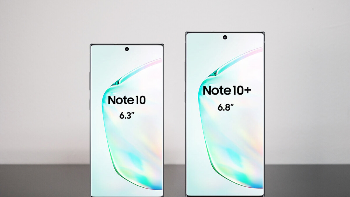The Note 10 and Note 10+ appear side by side in leaked marketing materials