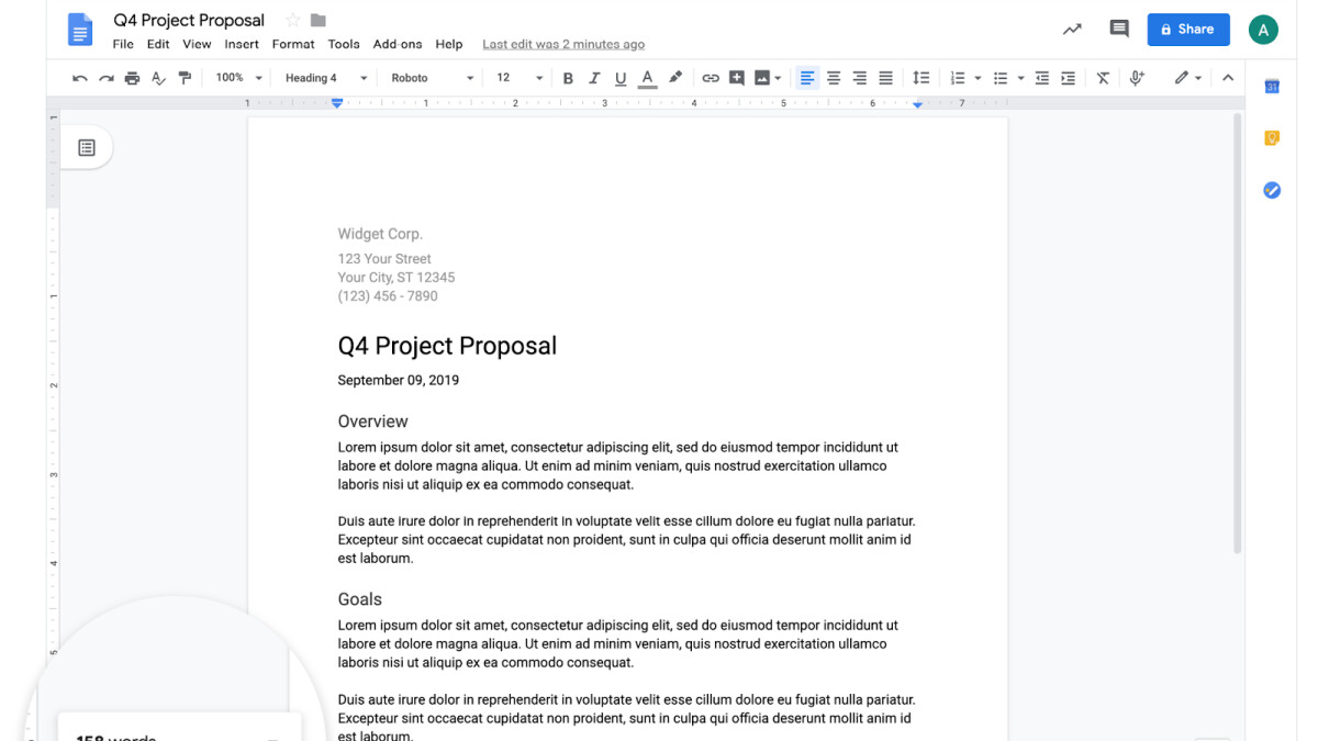 Google Docs update lets users view word count while typing